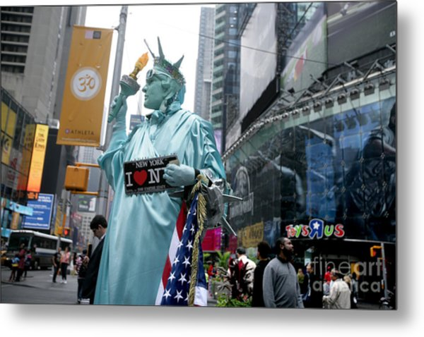 Human Statue Of Liberty In Times Square Metal Print by Bruce Crummy