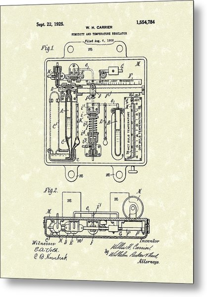 Metal Print featuring the drawing Humidity And Temperature Regulator 1925 Patent Art by Prior Art Design