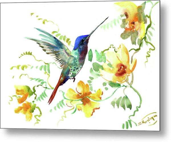 Hummibgbird And Yellow Flowers Metal Print