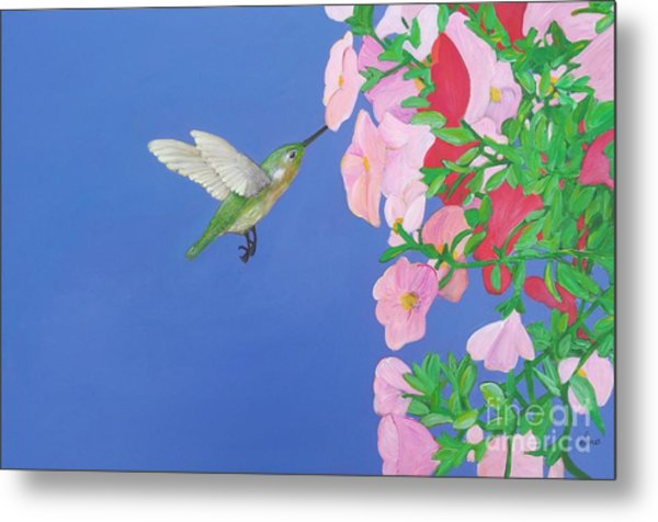 Hummingbird And Petunias Metal Print
