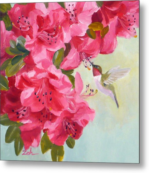 Hummingbird And Pink Azaleas Metal Print
