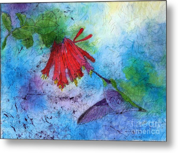 Hummingbird Batik Watercolor Metal Print