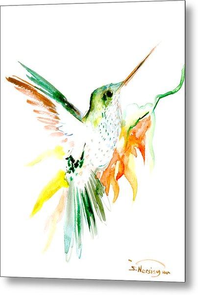 Hummingbird Green Orange Red Metal Print