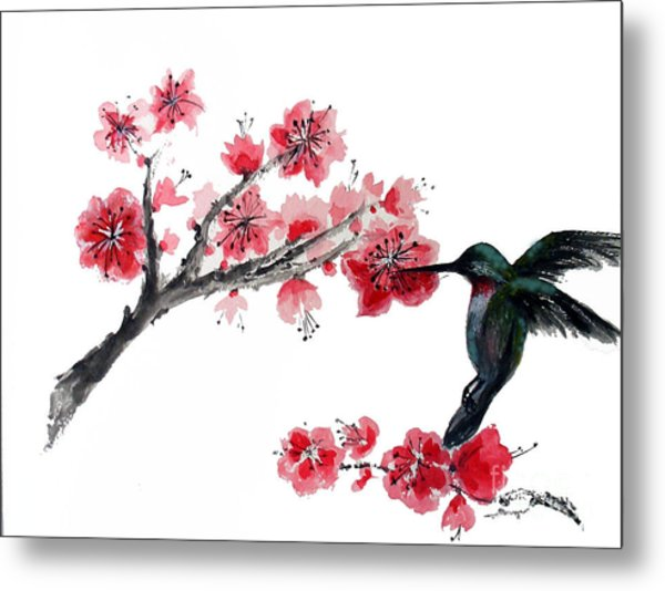 Hummingbird With Plum Blossom Metal Print