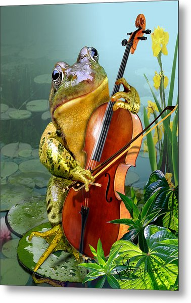 Humorous Scene Frog Playing Cello In Lily Pond Metal Print