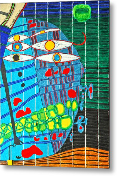 Hundertwasser Blue Moon Atlantis Escape To Outer Space In 3d By J.j.b Metal Print