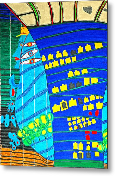Hundertwasser Blue Moon Atlantis Escape To Outer Space Metal Print