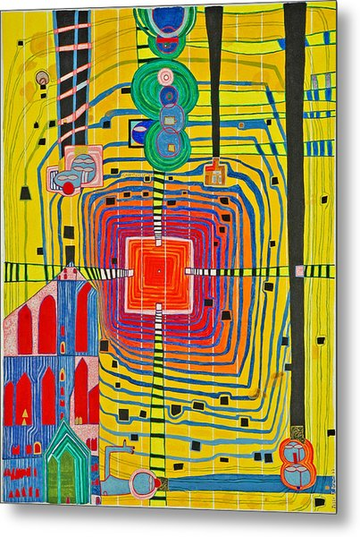 Hundertwassers Close Up Of Infinity Tagores Sun Metal Print