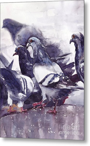 Hungry Pigeons Watercolor Metal Print