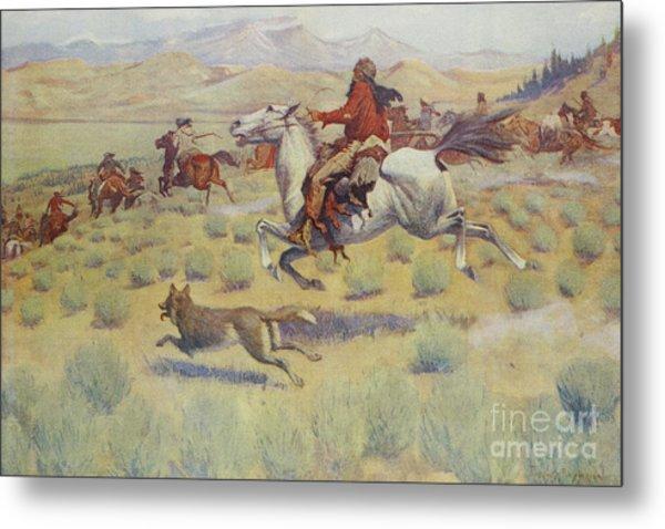 Hunting On The Prairie Metal Print
