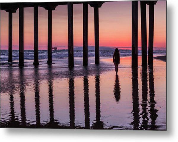 Huntingdon Beach Pier Silhouette At Sunset Metal Print