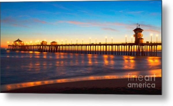 Huntington Beach Pier - Twilight Metal Print