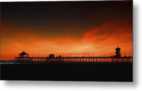 Huntington Beach Pier Metal Print by DRK Studios