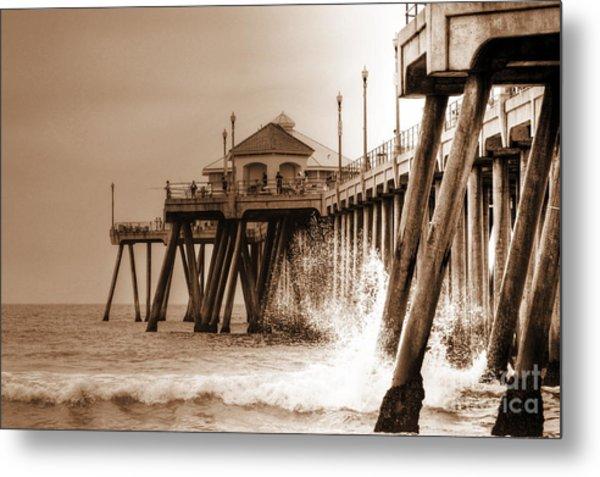 Huntington Beach Pier In Sepia Metal Print