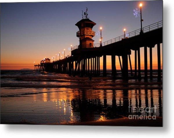 Huntington Beach Pier Metal Print by Timothy OLeary