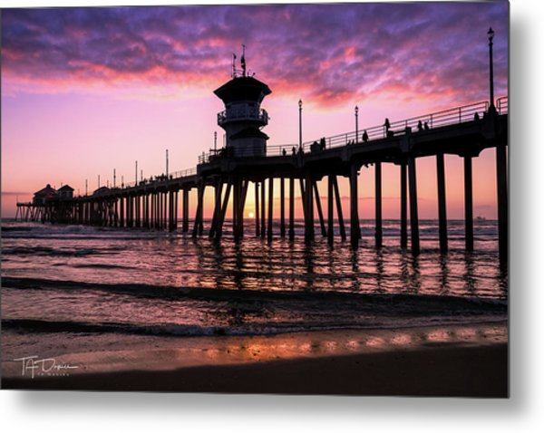 Huntington Pier At Sunset 2 Metal Print