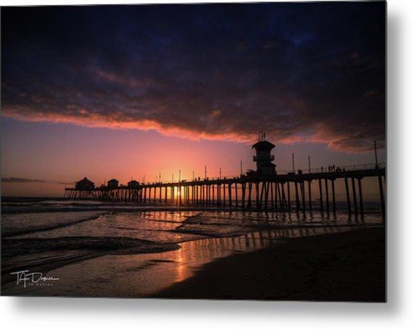 Huntington Pier At Sunset Metal Print