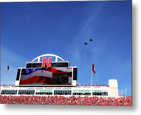 Husker Memorial Stadium Air Force Fly Over Metal Print