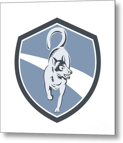 Husky Dog Crest Retro Metal Print