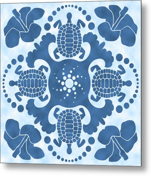 Hybiscus And Turtle Hawaiian Quilt Block Metal Print