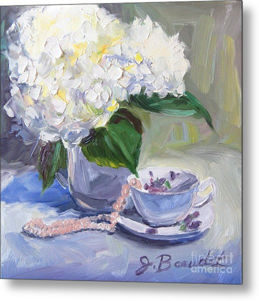 Hydrangeas With Pearls  Metal Print