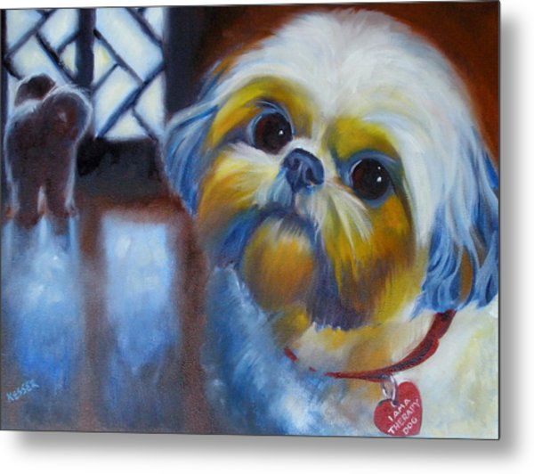 I Am A Therapy Dog Metal Print by Kaytee Esser