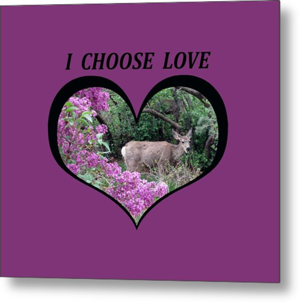 I Chose Love With Deers Among Lilacs In A Heart Metal Print