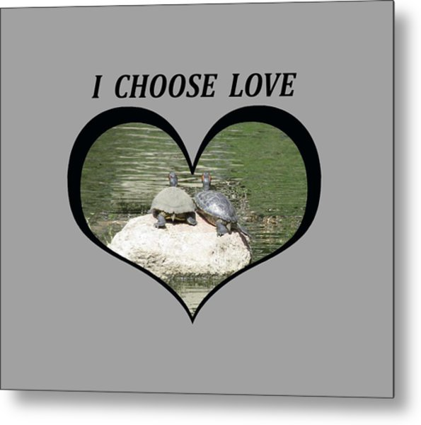 I Chose Love With Two Turtles Snuggling Metal Print