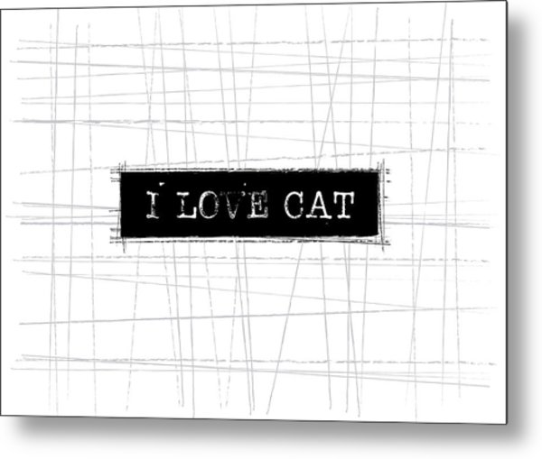 I Love Cat Word Art Metal Print