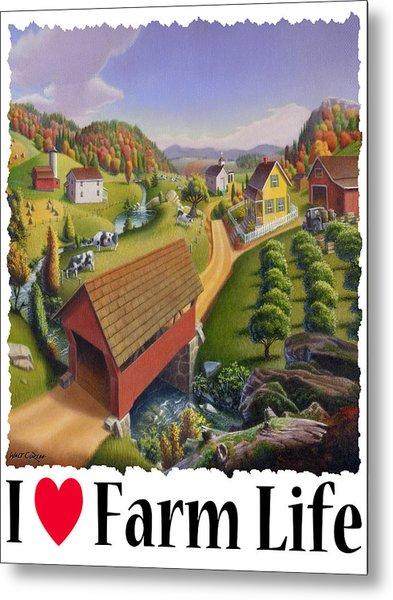 I Love Farm - Appalachian Covered Bridge - Rural Farm Landscape Metal Print