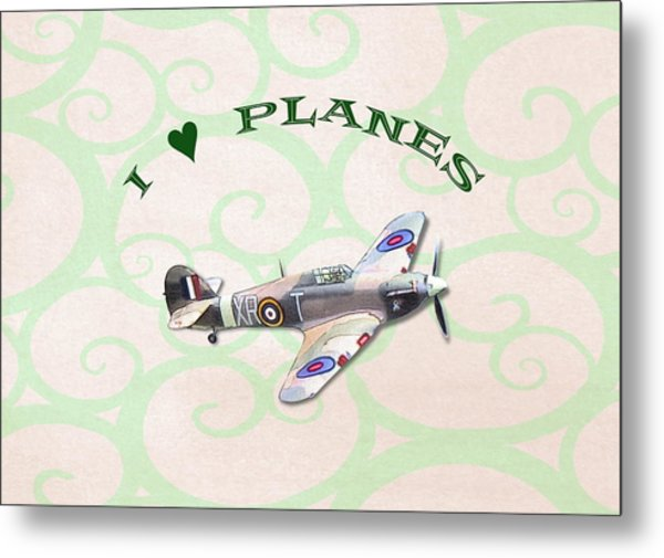 I Love Planes - Hurricane Metal Print