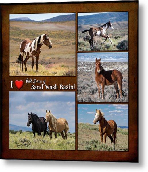I Love Wild Horses Of Sand Wash Basin Metal Print