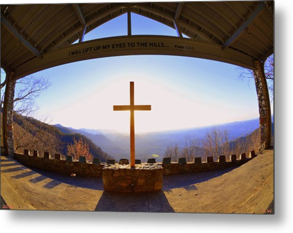 Metal Print featuring the photograph I Will Lift My Eyes To The Hills Psalm 121 1 by Lisa Wooten