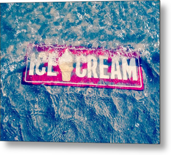 Ice Cream Beach Sign- Blue Abstract Metal Print