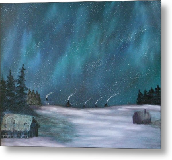 Ice Fishing Huts Metal Print by Rebecca  Fitchett