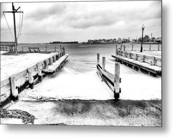 Ice In The Bay At Long Beach Island Metal Print by John Rizzuto