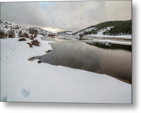 Ice In The River Metal Print