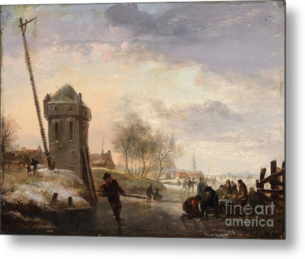 Ice Skating Before A Dutch Town Metal Print