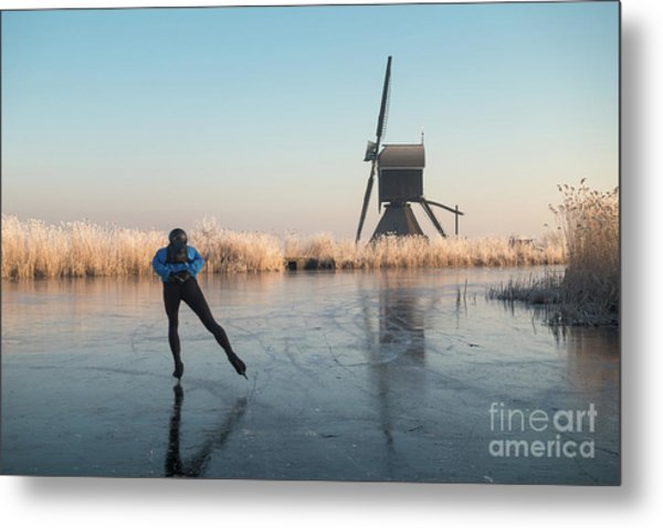 Ice Skating Past Frosted Reeds And A Windmill Metal Print