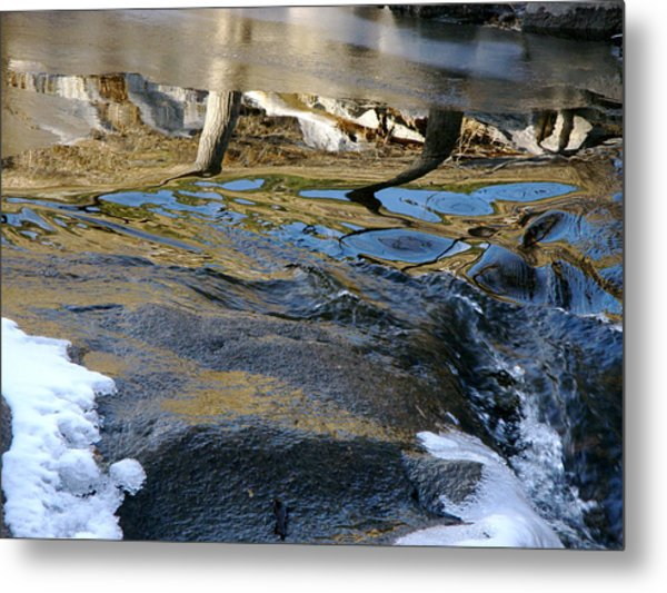 Ice Water Reflection Metal Print