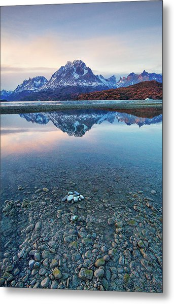 Icebergs And Mountains Of Torres Del Paine National Park Metal Print