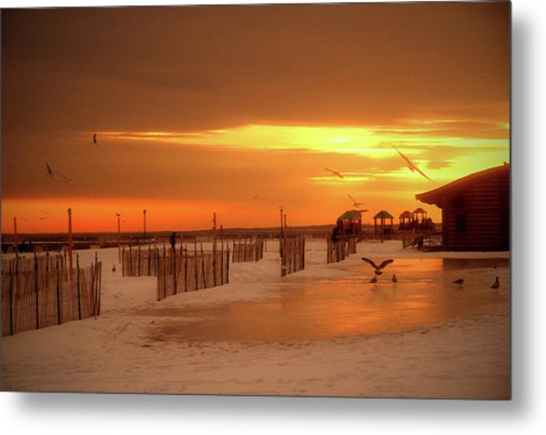 Iced Sunset Metal Print