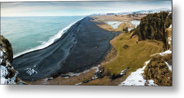 Iceland Coast And Black Beach Panorama Metal Print