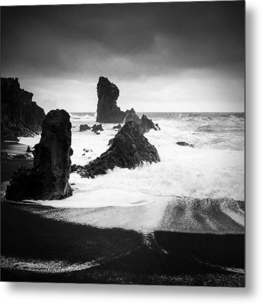 Iceland Dritvik Beach And Cliffs Dramatic Black And White Metal Print