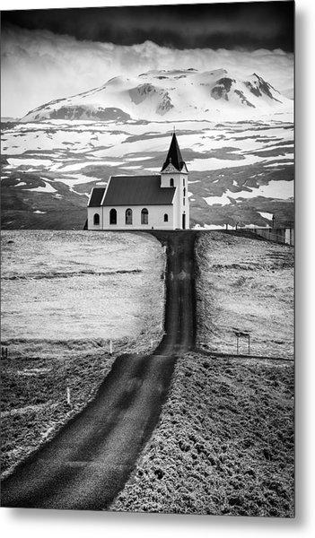 Iceland Ingjaldsholl Church And Mountains Black And White Metal Print