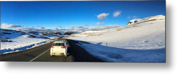 Iceland Travel - Snow Covered Mountain Pass In June Metal Print