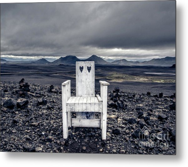 Iceland White Chair Wide Metal Print