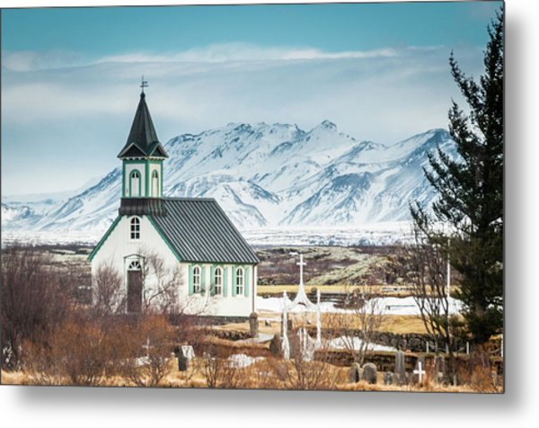 Icelandic Church, Thingvellir Metal Print