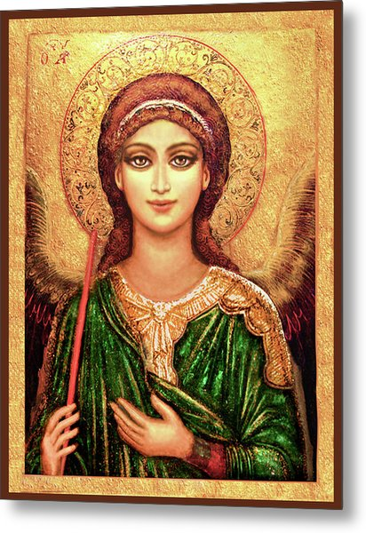Icon Angel In Green Metal Print
