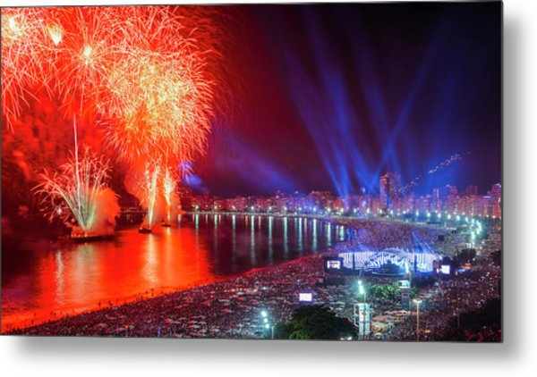 Iconic And Breath-taking Fireworks Display On Copacabana Beach,  Metal Print